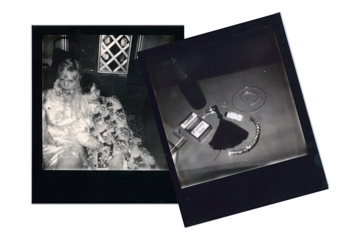 Left: Petite Meller in Kitsune and Nao Koyabu in a coat by Miu Miu at Raspoutine. Right: Clockwise from center, Hotel Amour room key, Silver ring by Olivia Tse, White & Yellow Gold choker with diamonds and Rose Gold bracelet by TARA 4779, Onyx and Rhinestone bracelet by Abby Carnevale.