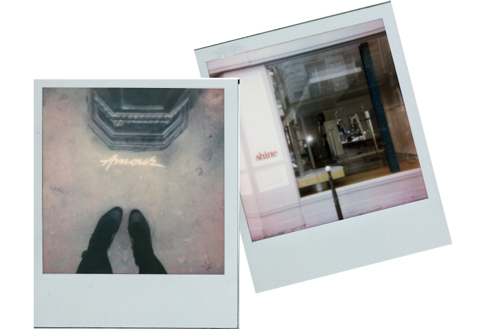 Left: Street art in The Marais, Lanvin shoes, Wolford Tights. Right: Storefront available in The Marais.